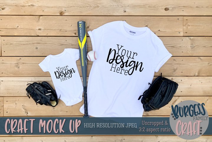 Parent and baby baseball Gildan t-shirt |Craft mock up