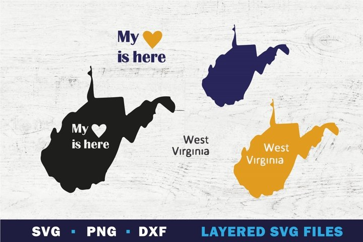 West Virginia state map SVG, My Heart is here sign on state