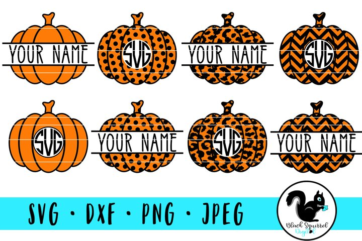 Pumpkin Monogram and Split Frames SVG Bundle