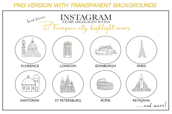 Instagram Story Travel Icons PNG, 27 Hand Drawn Cities