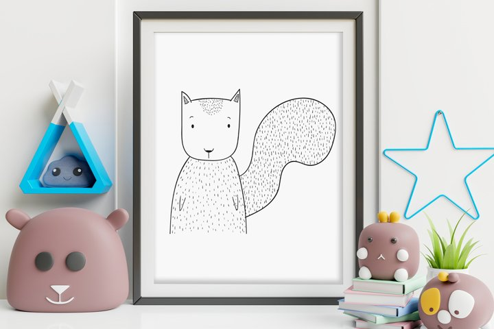 Wall art,Cute Little squirrel animal clip art