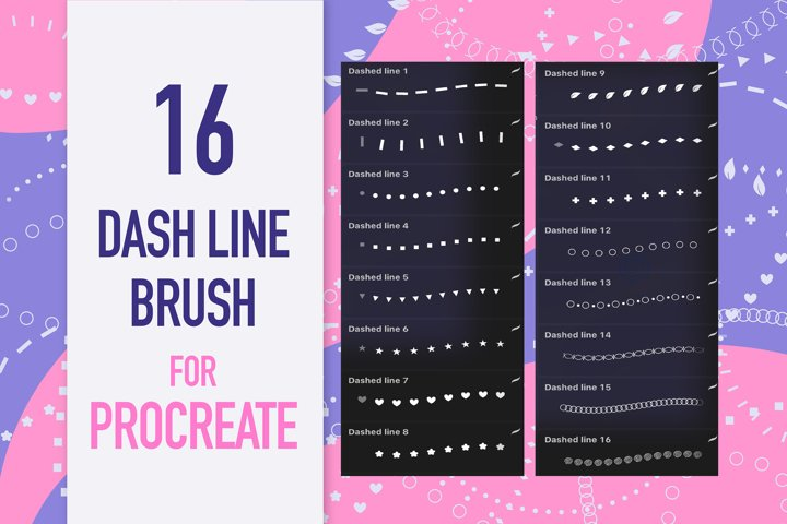 Dash Line Brushes for Procreate