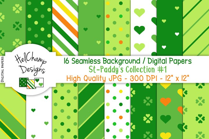 16 seamless Digital Papers St-Paddys Collection #1 - HC047