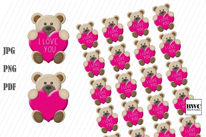 I Love You Valentine Bear Stickers