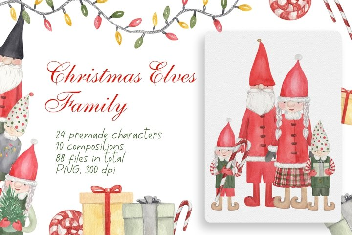 Christmas Elves Family Watercolor Clipart Collection, PNG