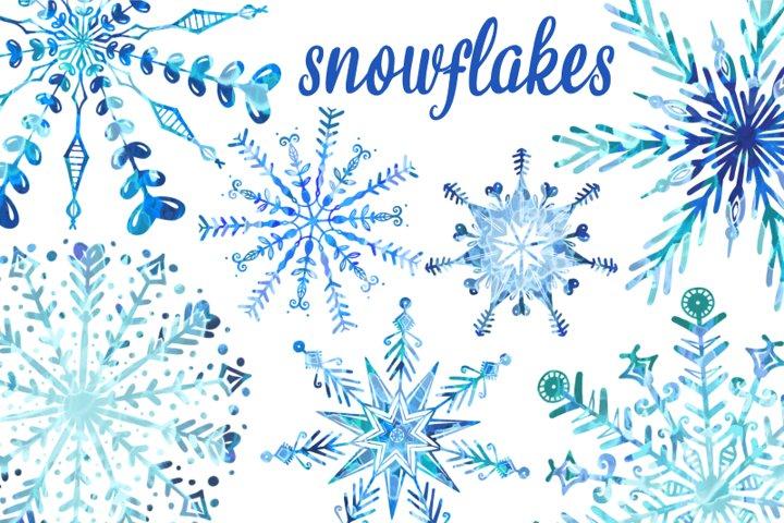 Winter Wonderland Watercolour Christmas Snowflakes