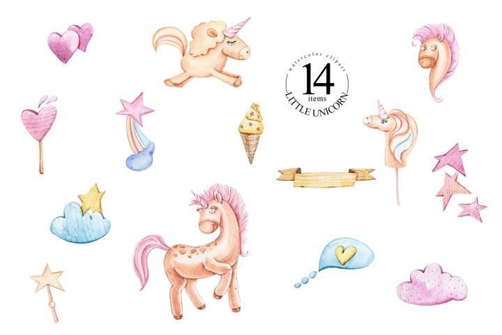 Watercolor cartoon fantasy unicorns clipart.
