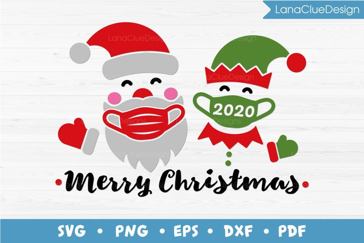 Merry Christmas 2020, Masked Santa and Elf, SVG PNG DXF EPS