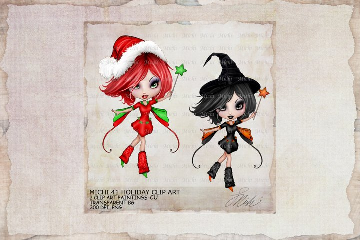 Michi 41 Holiday Fairy Christmas, Halloween Clip Art