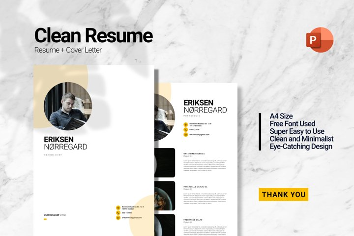 Clean Chef Resume PowerPoint