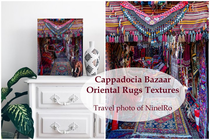 Cappadocia bazaar of oriental rugs. Travel wall art