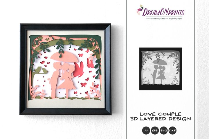 Love Couple 3D Layered Design   Valentines Day 3D SVG