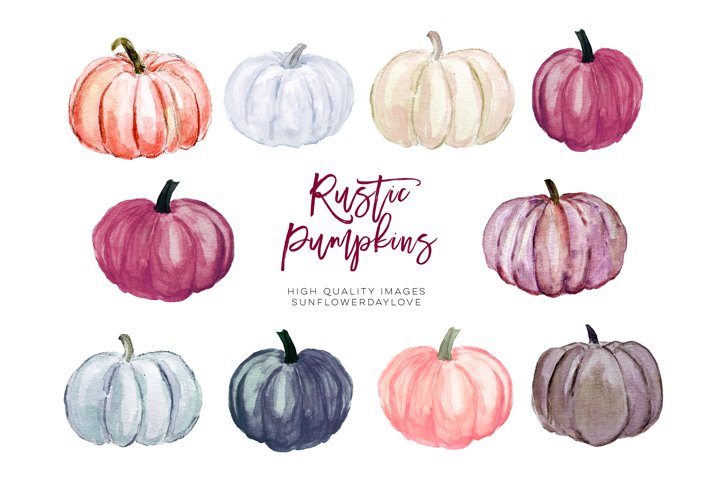 Autumn pumpkin watercolor clipart, Marsala Pumpkin Clipart