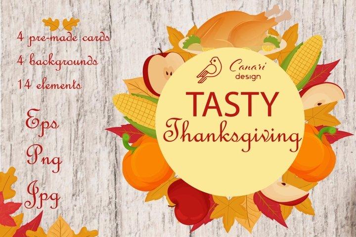 Tasty Thanksgiving kit vector clipart
