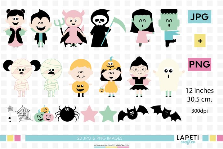 Pink Halloween clipart, pastel halloween png, kawaii kids