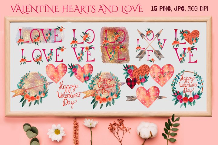 Valentines Day Bundle. Watercolor Hearts. Love Quotes