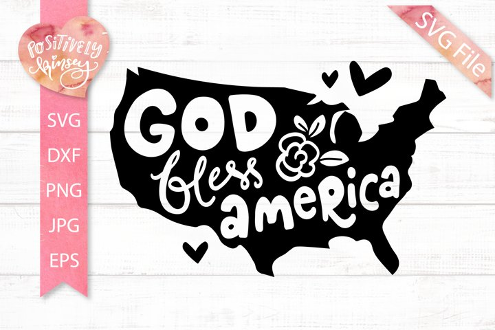 God Bless America SVG, America Map SVG File, for 4th of July
