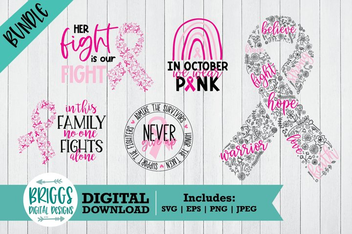 Breast Cancer SVG Bundle | Pink Ribbon Cut Files