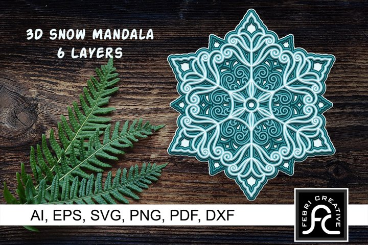 3d Layered Snow Mandala - SVG