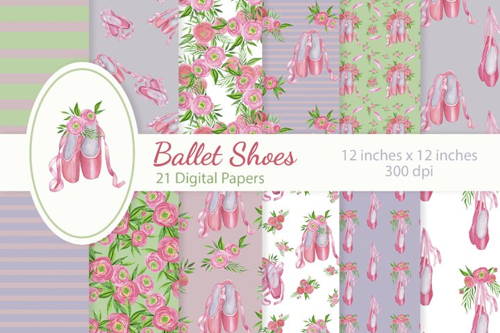 Floral Ballet Shoes Digital Papers Set example