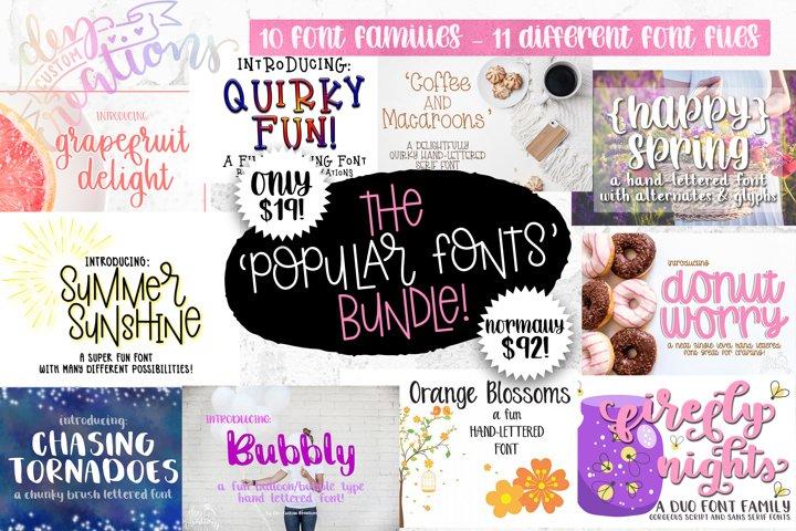 The Popular Fonts Bundle - 10 font families!
