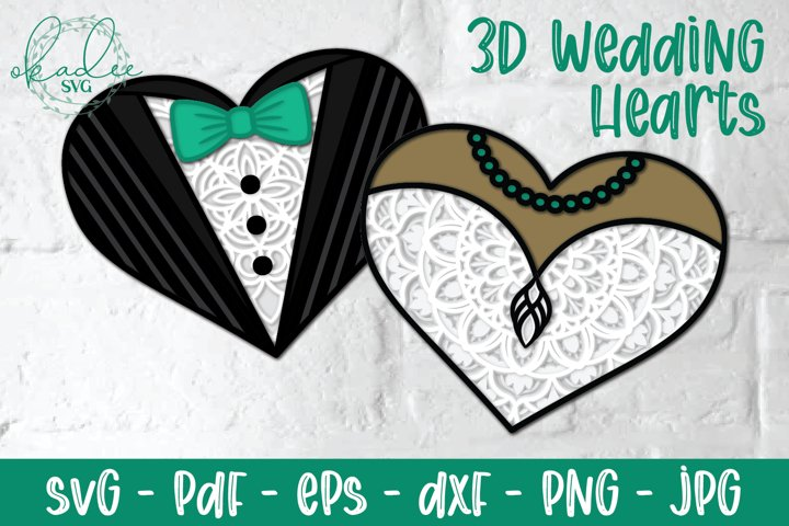 3D Wedding Heart Mandala SVG, Wedding Dress, Tuxedo Papercut