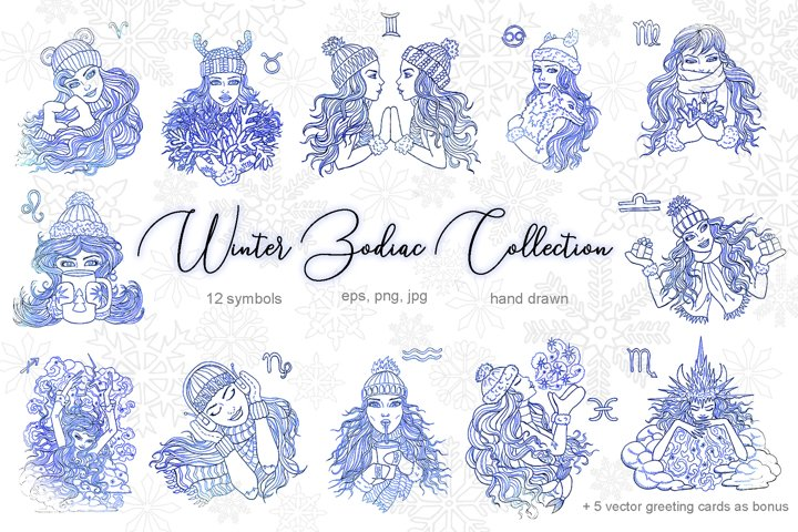 Winter Zodiac Collection, vector