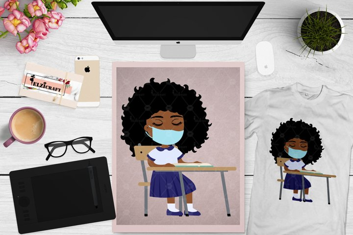 Afro Girl, Back to school, Face Mask, Classroom SVG Cut File