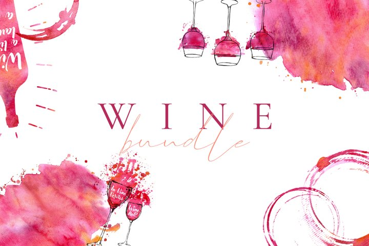 Wine Watercolor Bundle. Stains, Glasses, Posters and Menu