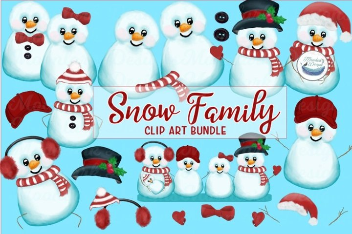 Snow man clip art, snow family & accessories PNG sublimation