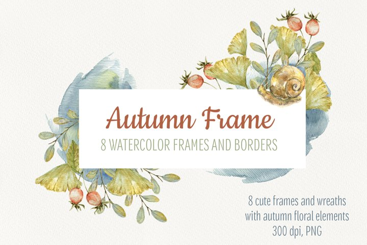 Watercolor autumn frames and borders