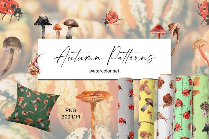 Autumn Cute Watercolor Patterns Set. Digital Papers. PNG