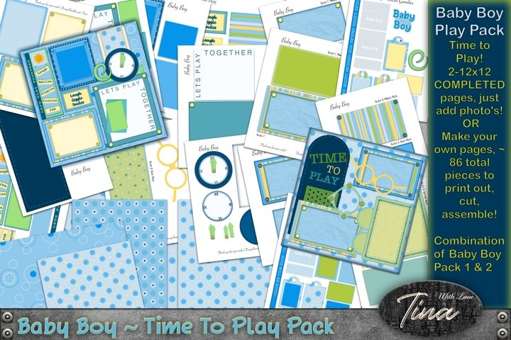 Baby Boy Time To Play Pack Completed & Print & Cut