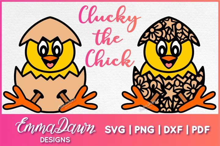 CLUCKY THE CHICK SVG 2 MANDALA ZENTANGLE EASTER DESIGNS