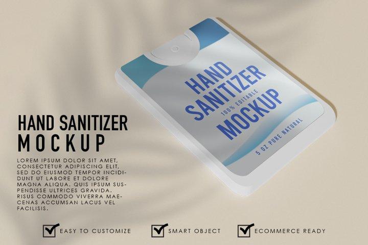 Realistic Square Hand Sanitizer Spray Mockup Template
