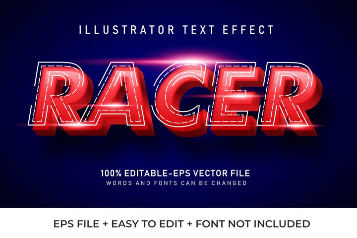 Red Racer Vector Text Effect