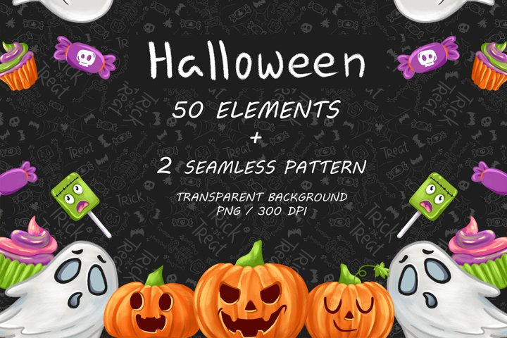 Halloween CLIPART, Fall clipart, Pumpkin clipart, PNG files