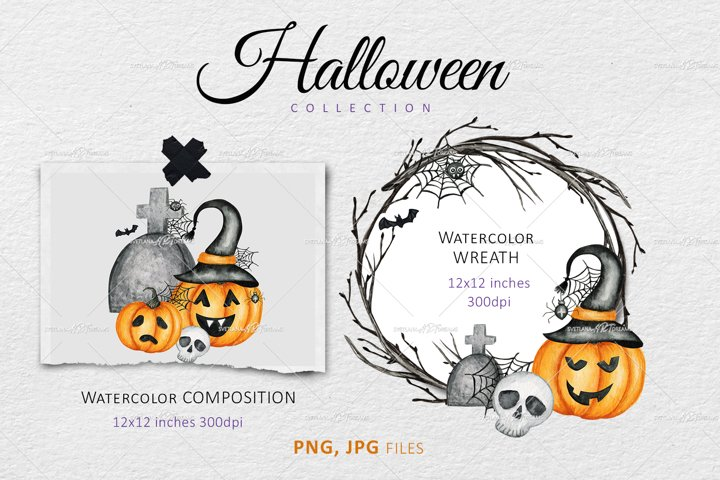 Halloween Wreath PNG, Watercolor frame Clipart, invitation