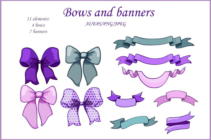 green and lavender bows and ribbons banners, 11 elements set