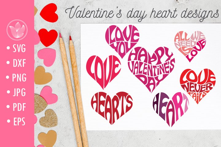 Valentines day heart designs, Lettering svg cut files