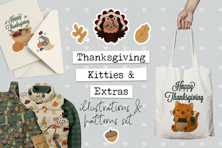 Thanksgiving Cat Illustrations, Clip Art & Patterns