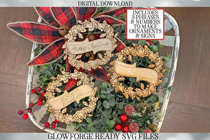 Glowforge Sign / Ornament Set for Christmas | Holly Wreath