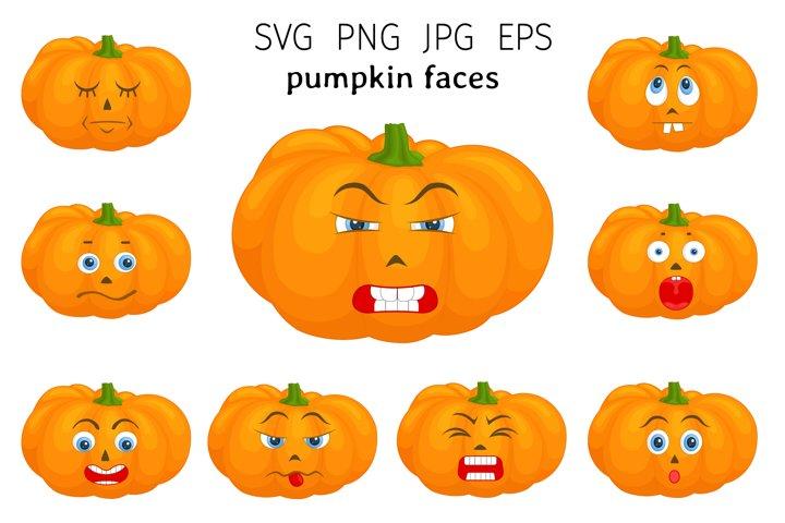 Pumpkin faces Clipart. Halloween Clip art.