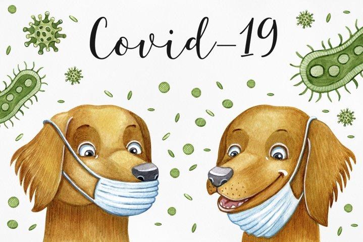 Watercolor illustrations Covid-19 corona virus.