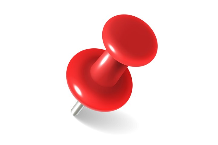 Red thumbtack. round metal pushpin for attach memo and pinne