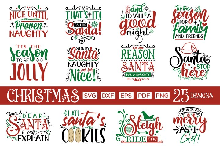 Christmas SVG Bundle, 25 Christmas SVG Cut Files