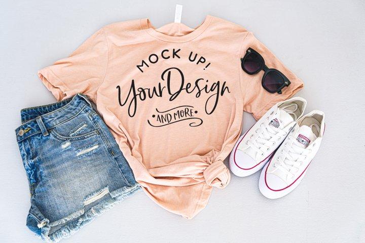 Shirt Mockup - Bella Canvas 3413 Peach Triblend
