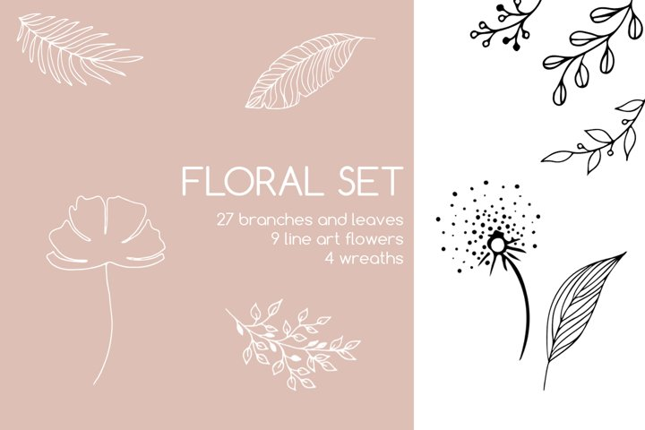 Floral Decorative Set of Branches, Leaves, Wreath
