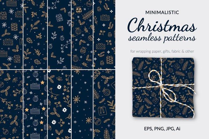 Minimalistic dark christmas pattern. Digital paper for gift.