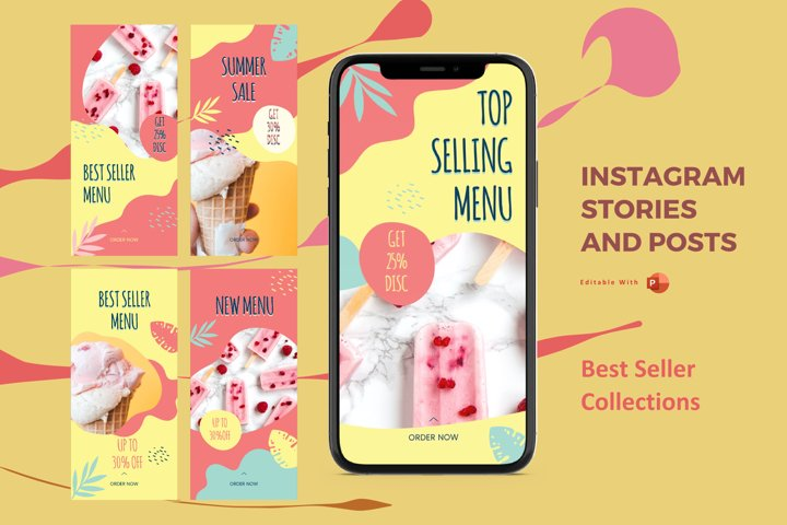 Instagram stories and posts powerpoint template - best selle